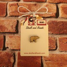 Rustic Bear Lapel Pin / Tie Tack - Laser Cut Wood - Small