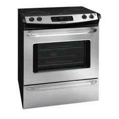 La cuisinière électrique encastrable de Frigidaire comprend un four autonettoyant à grande capacité, un élément de grande taille, des grilles munies de poignées et une multitude d'options de grillage. Le produit a un fini en acier inoxydable et mesure 30
