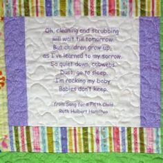 Baby Quilt w Embroidered Mother Hubbard & Babies Don't Keep poem print