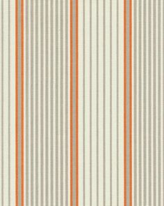 John fabric in Mandarin by P Kaufman - white, grey/gray and orange stripe/striped - $18/yd