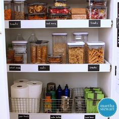 Kid-Friendly Pantry Organization | Learn how to declutter and organize your kitchen pantry along with tips for making it accessible to kids big and small. #organizationtips #kitchenorganization #marthastewart #pantryorganization