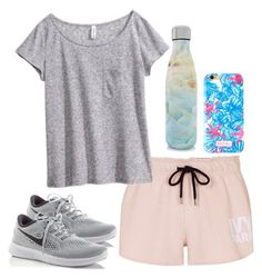 """""""Championship playoff game for softball tom night"""" by gemini-lady ❤ liked on Polyvore featuring Topshop, H&M, S'well, Lilly Pulitzer and NIKE"""