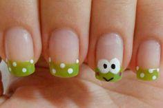 Cute little frog nail art. Do It Yourself Nails, Hello Kitty Nails, Kawaii Nails, Nails For Kids, Cat Nails, Funky Nails, Funky Nail Art, Minimalist Nails, Animal Nail Art