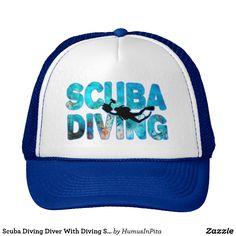 Scuba Diving Diver With Diving Suit And Swim Fins Trucker Hat