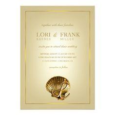 Anchored Seashell Nautical Wedding   ecru & gold Personalized Announcements
