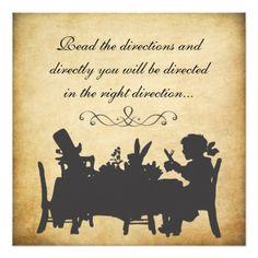 Vintage Alice in Wonderland Tea Party Birthday Invitations by Pip_Gerard. Alice In Wonderland Tea Party Birthday, Alice Tea Party, Mad Hatter Party, Mad Hatter Tea, Mad Hatter Wedding, Lewis Carroll, Machine Silhouette Portrait, Chesire Cat, Tea Party Invitations