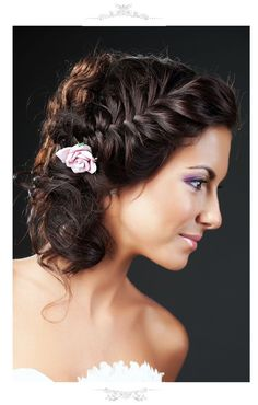 Wedding Hairstyle with plaid updo & shades of purple make-up