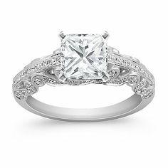 Vintage Princess Cut Diamond Engagement Ring