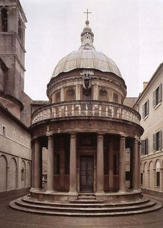 This is an image of Tempietto at San Pietro in Montorio that is located in Rome, Italy and created in the century. This structure displays Renaissance architecture, as displayed by the emphasis on the symmetry of columns and dome shape. Architecture Antique, Architecture Classique, Art Et Architecture, Classic Architecture, Amazing Architecture, Michelangelo, Italian Renaissance, Italian Art, Salvador Dali