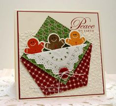 Stampin' Up supplies: Very Vanilla and Cherry cardstock with a little pocket envelope made out of Be of Good Cheer designer paper. Tucked ...