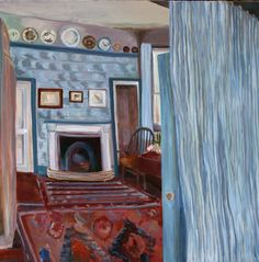 """A wonderful week ahead of us at both of our galleries. Tomorrow sees a talk by #KarlMartens at our #Hungerford gallery ahead of his forthcoming London exhibition and #LottieCole's solo exhibition """"Living with Art - Collectors' Interiors"""" starts this coming Wednesday. View more of our forthcoming exhibitions and RSVP via link in image.  Lottie Cole Emery Walker Interior II Signed Oil on canvas 39 3/8 x 39 3/8 in 100 x 100 cms (LC039)"""