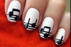 Music note nail art by cutepolish on YouTube