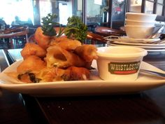 Whistlestop's Mozzarella Sticks... the cheese & basil leaf blends so well for only P185! :)