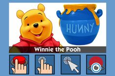 Winnie the Pooh - free teaching activity for switch, touchscreen, pointing device and eye gaze users. Use online or download for Windows PC.