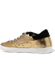 Golden Goose Deluxe Brand - Super Star Distressed Metallic Ostrich-effect Leather Sneakers - IT38