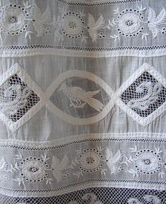 Maria Niforos - Rare Christening Gown w/ Birds & Valencienne Lace