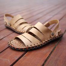 Us11 nueva luz de verano casuales de peso pisos zapatos de cuero reales hombre de la correa Fishman sandalias zapatos exterior diapositivas(China (Mainland))