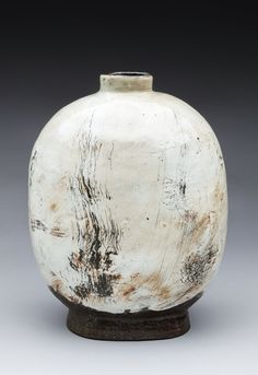 Lee Kang Hyo (Korean:  1961) - A Wind Flower  2012 - Stoneware with white slip and ash glaze