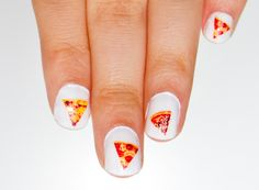 "A great man once said ""Never say not to pizza, It's like saying no to happiness"" and another person a slightly know wrote  "" Oh delicious wedge. When you come to be no more. My heart aches with need."" So if you are like me and are saddened when a slice is not close by, now there is a solution: Pizza Nail Decals!!!!  These little transfers nail decals are made from real pictures of Pizza. #pizza #nomnom #pizzalovers #pizzalove #naildecals #nails #obscuraoutfitters #cute #nailideas"