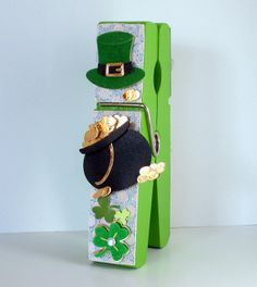 St Patricks Decor Large Clothespin Irish Green by AuriesDesigns.etsy.com