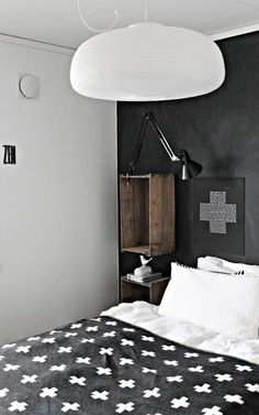 = crate mounted shelf and lamp great for tight spaces!