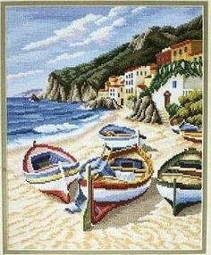 Beautiful beach and boats scene in needlepoint Tiny Cross Stitch, Cross Stitch Needles, Simple Cross Stitch, Cross Stitch Charts, Cross Stitch Designs, Cross Stitch Patterns, Patchwork Quilt Patterns, Needlepoint Patterns, Cross Stitching
