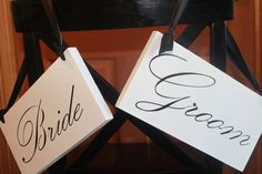 Bride & Groom or Mr & Mrs sign for hanging on your chairs at reception can be two-sided with Thank You on the other side, perfect for Thank You cards!