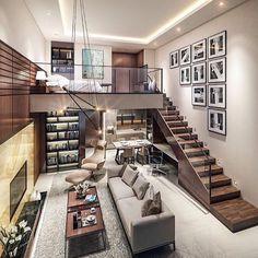 20 Cozy Home Interior Design Ideas - home design ideas Loft House Design, Small House Interior Design, Modern House Design, Design Of Home, Modern Houses, Duplex Design, Industrial Interior Design, Industrial Interiors, Industrial House