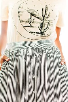 Follow Me Striped Button Down Skirt