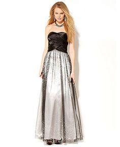 Hailey Logan Juniors Dress, Strapless A-Line Gown - Juniors Prom Dresses - Macy's