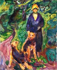 Woman with Airdale Terrier Edvard Munch - 1925-1926
