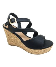 Loving this Black Paula Wedge Sandal on #zulily! #zulilyfinds