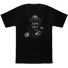 An armed skeleton wearing headphones t-shirt. Dunno might be from something.