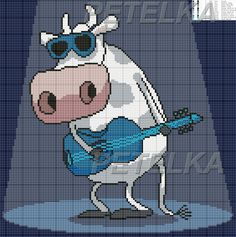 Spotlight cow x-stitch Cross Stitch Cow, Cross Stitch Music, Cross Stitch For Kids, Cross Stitch Patterns, Cute Cows, Stitch 2, Hama Beads, Smurfs, Diy Projects