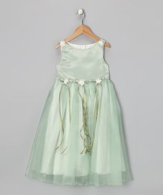 Take a look at this Sage Satin Organza Dress by Dream Kingdom on #zulily today!