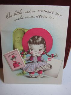 Adorable 1940s  Volland die cut mothers day card by puffadonna, $6.25