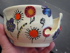 Ceramic Yarn Bowl hand painted floral pattern by BeeSpelledWest, $35.00