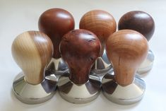 Simon Begg, Tampers. New coffee tampers ready for a gallery. #woodturning #coffeetamper #coffee #tamper #timber #huon #sheoak #jarrah #burl #gift #corporategifts
