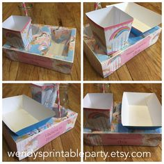Unicorn Themed Party Food Lunch Box with Hotdog Tray & Popcorn Box (Printable by you /DIY) - Dimensions / product details in description by WendysPrintableParty on Etsy
