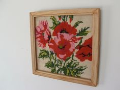 Vintage Framed Needlepoint Poppies by lookonmytreasures on Etsy