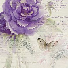 Summer Garden - purple rose with butterfly on writing.