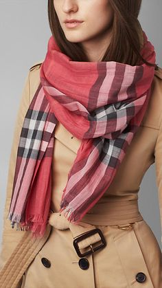 Check Wool Silk Scarf | Burberry