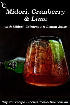 Midori Cranberry Lime is a great quck cocktail to throw together with Midori, Cranberry Juice & a squeeze of Lime before you drop the wedge into the glass. Midori Cocktails, Cocktail Drinks, Cocktail Recipes, Lime Wedge, Cranberry Juice, Summer Drinks, Lime Juice, Drop