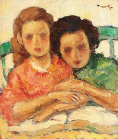 Nicolae Tonitza- (Romanian painter) Două surori (two sisters) ulei pe pânză, x cm L'art Du Portrait, Portrait Paintings, Two Sisters, Post Impressionism, Art Database, Sculpture, Love Art, Great Artists, Les Oeuvres