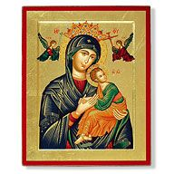 The icon of Our Lady of Perpetual Help has origins in Crete dating to the 15th century. Notice that Mary holds Jesus as the Archangels Michael and Gabriel appear to the Child Jesus with the instruments of His Passion. The fearful young Boy flees to the loving arms of His mother.