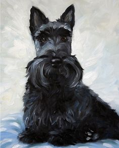 NEEDLEPOINT CANVAS PRINT Scottie Scottish terrier art painting by Mary Sparrow of Hanging the moon