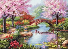 Dimensions Crafts Japanese Garden Counted Cross Stitch Kit *** Be sure… Cross Stitch Designs, Cross Stitch Patterns, Cross Stitching, Cross Stitch Embroidery, Dimensions Cross Stitch, Cross Stitch Landscape, Japanese Embroidery, Counted Cross Stitch Kits, Counted Cross Stitches