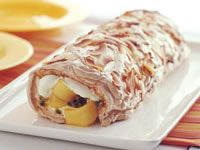 Preheat the oven to moderately slow fan-forced). Grease a x Swiss roll pan, . Pavlova, Light Dessert Recipes, Fruit Roll, Mango Recipes, Australian Food, Stone Fruit, Cooking Time, Afternoon Tea, Food And Drink