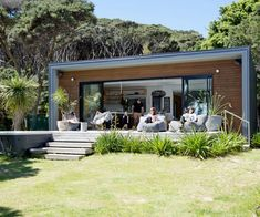 A family's quest to build a bach at their beloved holiday spot on Kawau Island was a logistical headache – but the result is spectacular. home A modern bach on Kawau Island has been nearly 70 years in the making Container Home Designs, Affordable Prefab Homes, Boat Shed, Casas Containers, Small House Design, Bungalows, Beach Cottages, Future House, House Plans