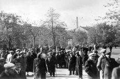 Lodz, Poland, 1940, Jews in a ghetto street.